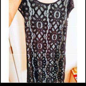 Beautiful lace black and light blue dress size 12